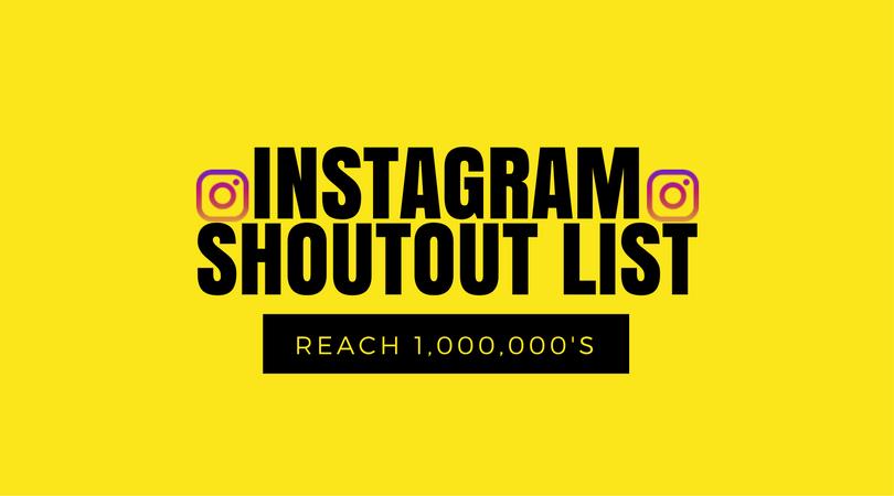 Instagram Shoutout List